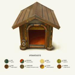 Χειροποίητο Ξύλινο Σπίτι Σκύλου Large 95 x 75 x 100 cm