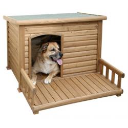 Ξύλινο σπίτι σκύλου με βεράντα 113 x 132 x 83cm
