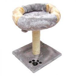 Oνυχοδρόμιο γάτας με κρεβατάκι και κρεμαστό παιχνίδι μπεζ/καφέ