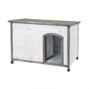 Ξύλινο σπίτι σκύλου μεσαίου μεγέθους Λευκό-Γκρί 85 x 58 x 58cm